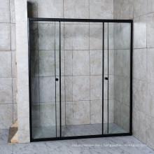 Elegant Aluminium Black Double Sliding Bathroom Shower Screen