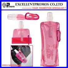 Botella de agua plástica plegable con anillo de acero inoxidable (EP-B7154)