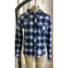 10% Wool 90% Polyester Flannel Hoody Shirt