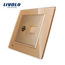 Livolo One Gang Золотая стеклянная панель для телевизора и интернет розетка VL-W292VC-13 (TV, COM)