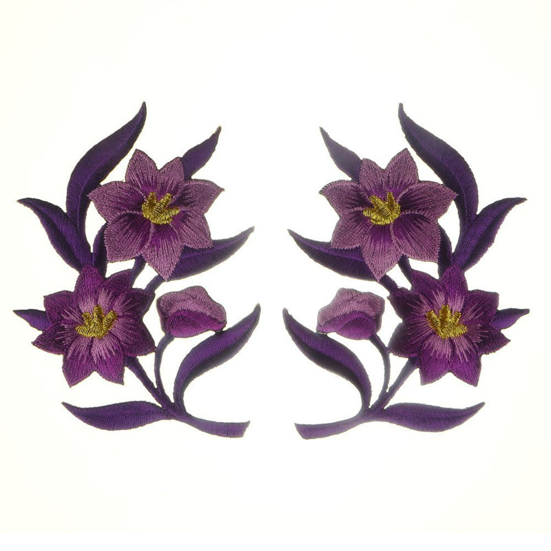 Lilies Pair Flowers Applique Patches