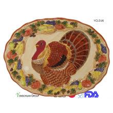Plaque de dinde en céramique peinte à la main pour gros