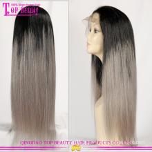 Ombre brasileiro mais barato por atacado perucas com cabelos grisalhos venda quente cinza perucas homem feito perucas de cabelo humano cinza prata