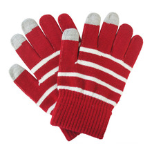 Lady Fashion Stripe Knitted Warm Touch Screen Magic Gloves (YKY5464)