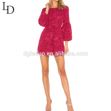 New fashion women party red sexy balloon long sleeve evening lace mini dress