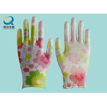 13G coloridos poliéster con PU guantes de seguridad revestidos