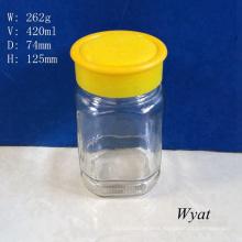 15oz 420ml Square Glass Honey Jar Glass Honey Jars with Plastic Cap