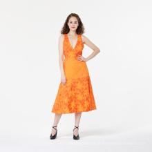 Bestickte Beachwear Damen ärmelloses Kleid
