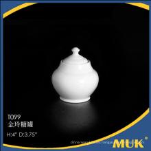 2015 los productos más vendidos ronda de diseño de cerámica blanca azúcar titular de azúcar