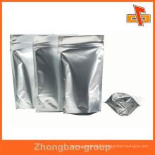 Stand up zipper lock food pouch silver aluminum foil mylar bag
