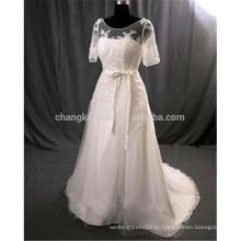 Custom Made White mangas curtas vestido de noiva com renda vintage princesa vestido de noiva