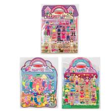 Custom Creative Princess Fairy Dress-Up Reusable Puffy Sticker Pads
