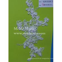 Stickerei-Spitze-Gewebe für Hochzeits-Kleid mit Perlen-Elfenbein-Schnur-Spitze CMC386B-T58