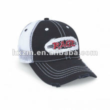 washed mesh cap with applique sports snap back caps