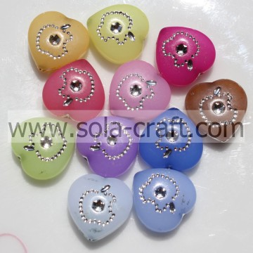 6*15*15MM Jelly Carved Colors Grade A Acrylic Heart Spacer Beads Pattern
