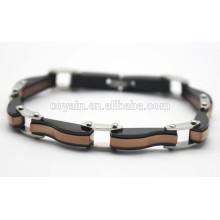 Aço inoxidável 316L preto e ouro antigo banhado pulseiras cadeia
