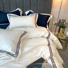 Apartment Modern Style Embroidered Bed Sheet Set Cotton White for Double Bed