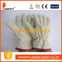 Guante de trabajo de cuero de grano de cerdo guante de trabajo de seguridad (dld412) CE