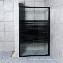 Simple Black Line Tempered Glass Shower Screen with Aluminum Frame