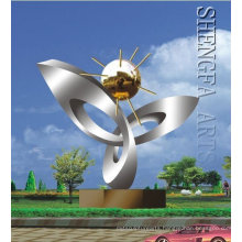 Modern Large Arts Stainless steel Plant sculpture for Outdoor decoration