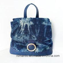 Promotion Mode Großhandel Frauen Leinwand Leder Rucksack (NMDK-042602)