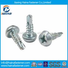 China fabricante cincado chapado grande de la charca de la cabeza autoperforación tornillo