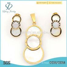 Brincos de ouro rodada moda e lockets comprar conjuntos de jóias por atacado