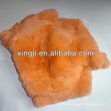 Rex piel de conejo teñida de color naranja rex conejo para abrigo de piel