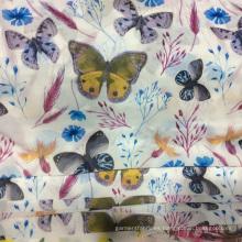 Nueva mariposa fresco poliester impreso a Vestido de gasa tela de la ropa