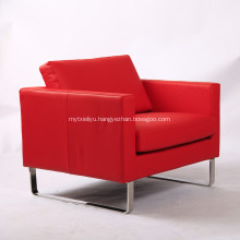 Red Genuine Leather Sofa Chair