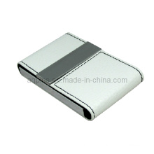 White PU Leather Business Card Holder