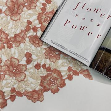 Peach Beige Flower Chemical Lace Stickerei Stoff