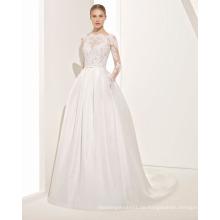 eine anmutige Transparente Spitze Mieder Brautkleid mit V zurück und Falten Rock