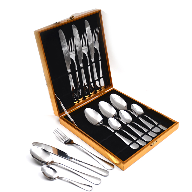 Stainless Steel 16-pieces Cutlery Set with Wooden Box