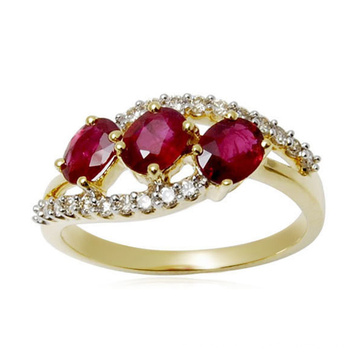 18k Gold Over 925 Silver Rings Jewelry with Ruby CZ