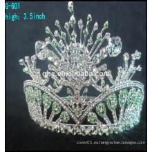Corona grande del desfile del desfile del rhinestone al por mayor de la reina