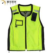 CNSS personalizado design fluorecent amarelo cor sortida alta visibilidade colete de segurança reflexivo