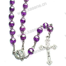 8mm Purple Round Glass Beads Catholic Rosary Necklace, Rosary Beads