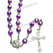 8мм фиолетовый круглый стеклянные бусины католическое ожерелье из розария, бусины из розария
