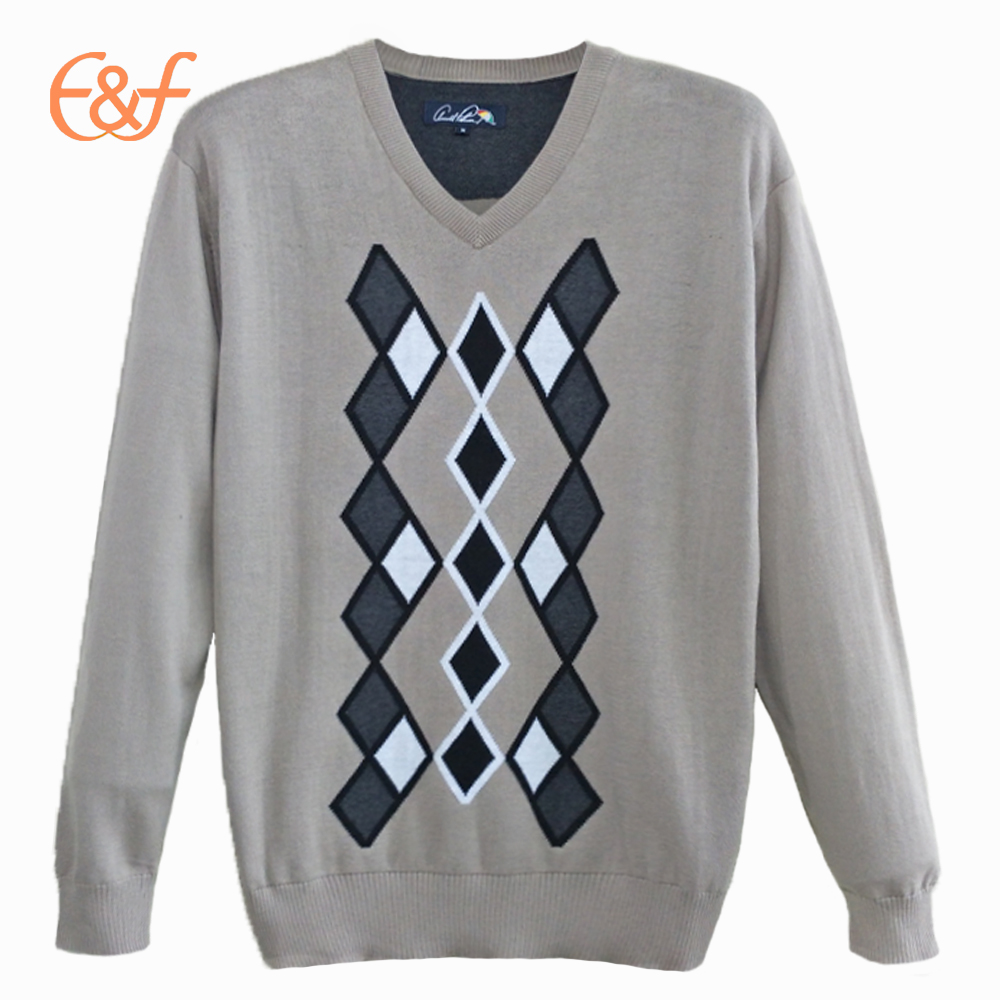 Men's Fashion Custom Male Pullover Argyle Sweater