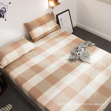 Fitted Bottom Sheet Deep Pockets Wrinkle Cotton Fabric for Plaid King Bed Linen