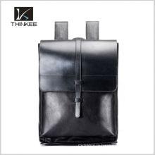 Элегантность старинные geuine кожаный школьные сумки рюкзак
