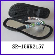 Brillo del diamante del PVC de la inyección del zapato de la sandalia de China del zapato calza el zapato de China