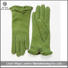 Guantes de mujer de fantasía y guantes de cuero de gamuza de color verde oscuro