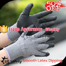 SRSAFETY 10 gauge Smooth latex coated gloves/work safety gloves in safety gloves,economy style