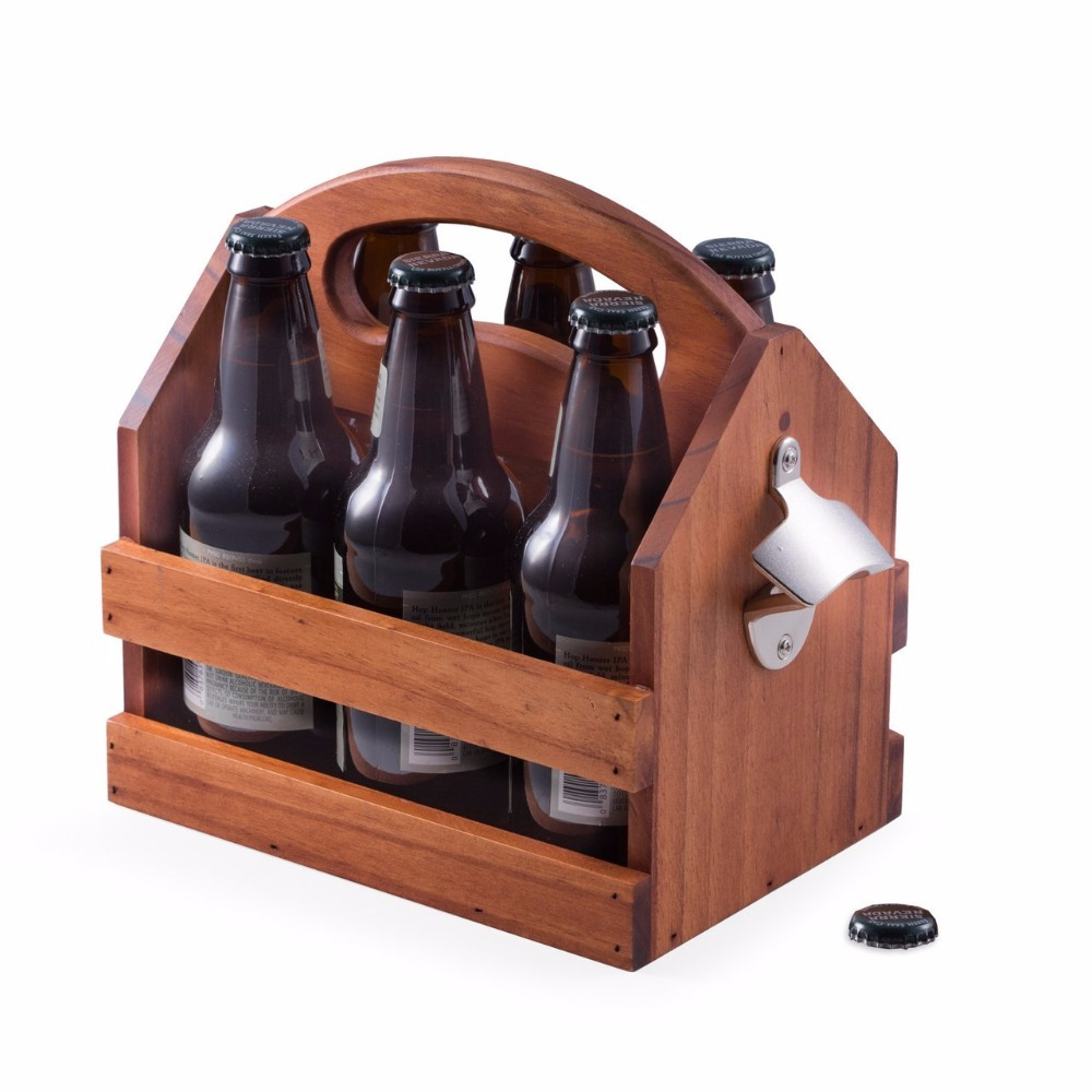 Handmade Wooden Beer Carrier Caddy Six Pack Holder