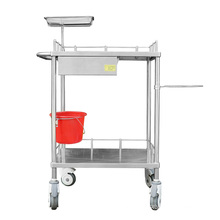2 layers stainless steel medical instrument trolley with draws