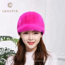 Usine vente directe plus chaude dames roses vison vrais chapeaux de fourrure