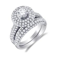 925 Plata Prong conjunto anillo de compromiso de diamantes y banda de boda conjunto