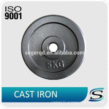 placa de peso de pintura negra de hierro fundido 5 kg 10 kg 15 kg